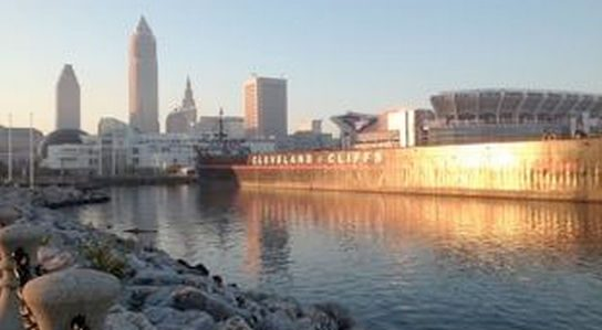 (Photo by the author) Downtown Cleveland from Lake Erie