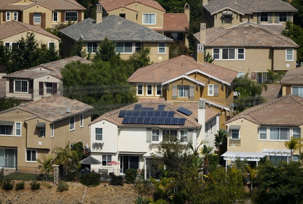 A home with solar panels on its roof in a residential neighborhood in San Marcos, California (Mike Blake/Reuters)