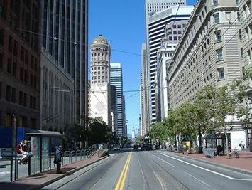 SF Market Street view toward ferry building