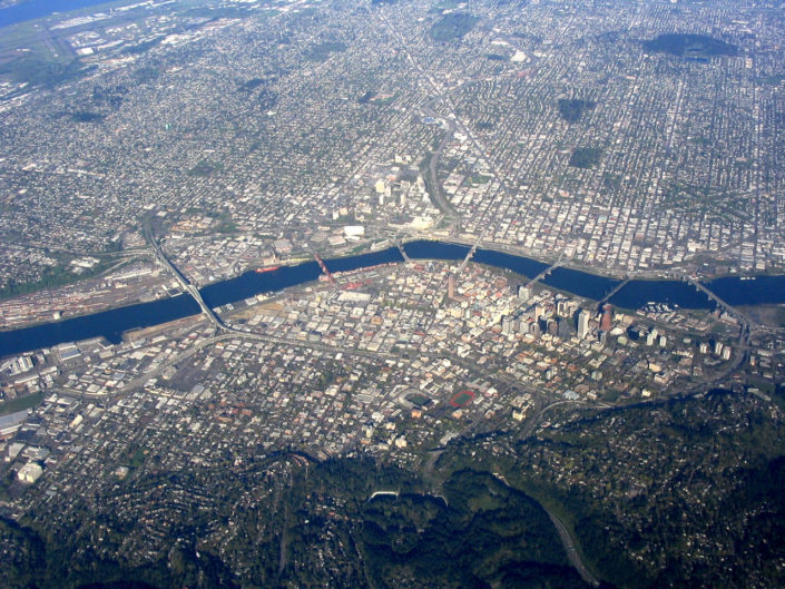 Aerial view of Portland, Oregon