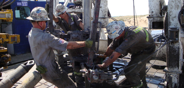 Drilling roughnecks, photo credit National Institute of Occupational Safety and Health